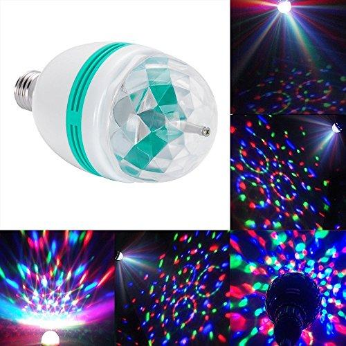 DLLL 3W Crystal Ball Magic RGB Automatic Rotating LED Stage Effect Wall Ceiling Light E27 Bulb for Home Party Disco DJ Bar Club KTV
