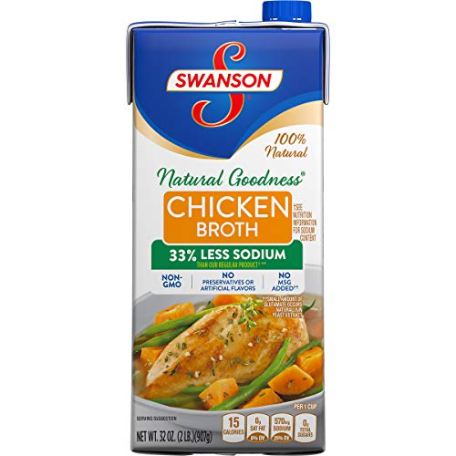 - Swanson Natural Goodness Chicken Broth, 32 oz. Carton