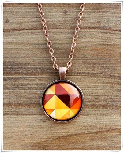 no see long time Orange Necklace, Orange Pendant ,Round Pendant Necklace, Art Pendant ,Geometric Jewellery
