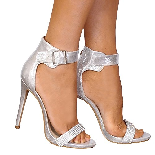 Shoe Closet Ladies Silver Metallic Diamante Strappy Sandals Peep Toes High Heels uYrXKmmQ