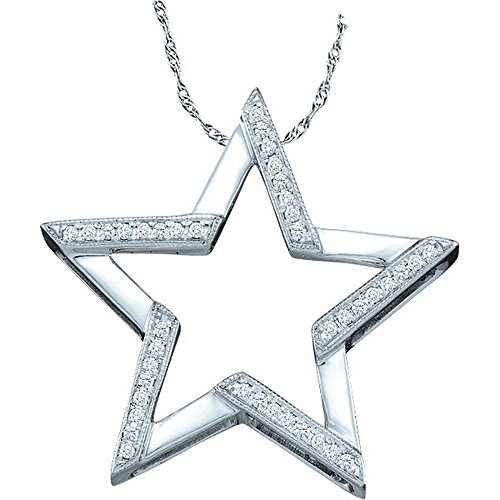 Sonia Jewels 10K White Gold Star Micro Pave Set Round Diamond Pendant - (1/10 cttw)