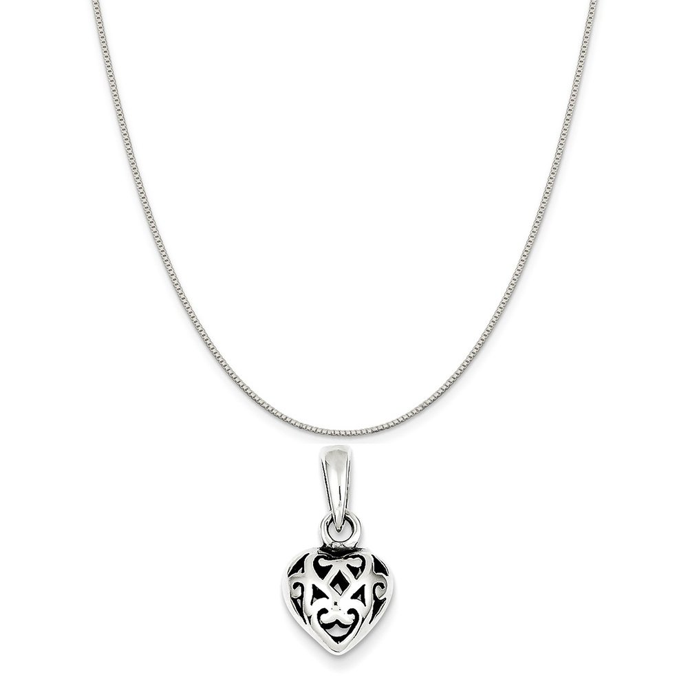 16-20 Mireval Sterling Silver Antique Puff Heart Charm on a Sterling Silver Chain Necklace