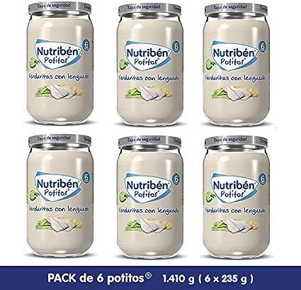 Nutribén Potitos De Verduritas con Lenguado Desde Los 6 Meses Pack de 6 x 235 gr.: Amazon.es: Alimentación y bebidas