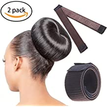 Hair Bun Maker ,MMTX 2 PCS Gril DIY Styling Donut Former Foam French Twist Magic tool Brown