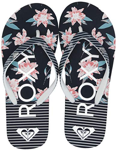 Roxy Girls' RG Pebbles Flip Flop Sandal, Navy/White Stripe and Floral 11 Medium Youth US Big Kid