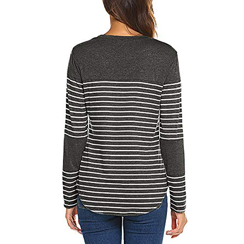 Automne T Bringbring Chemisier Tops Manches Ray Gris Rayure Shirt Blouse Cou Fonc Femme O Longues Pull Patchwork FHqdUdwx