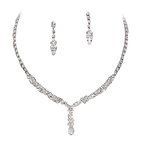 77d8e6bf6 Amazon.com: Beautiful Y Drop Evening Party Clear Bridal Bridesmaid Necklace  Earring Rhinestone Bling Silver Tone Q5: Jewelry