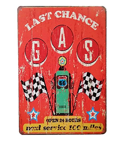 UNiQ Designs Vintage Tin Signs Last Chance Gas Station Garage Decor Retro Garage Poster Bar Wall Sign-The Perfect Metal Vintage Pub Sign, Pin Up Garage Sign or Garage Decor Tin Sign for Men 12 x 8