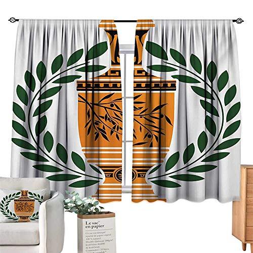 Warm Family Door Curtain Toga Party,Old Antique Greek Vase with Olive Branch Motif and Laurel Wreath,Hunter Green Orange Black 72