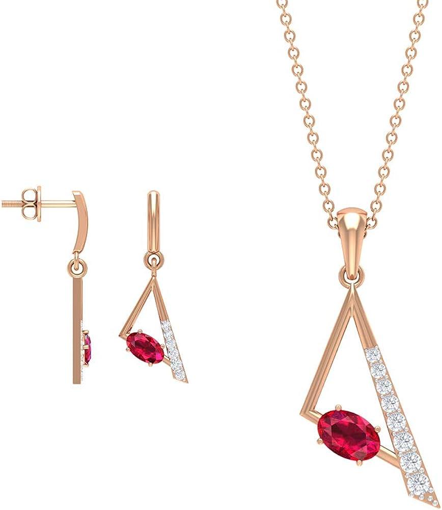 Juego de collar y pendientes con colgante de diamante, colgantes de piedras preciosas de rubí solitario de 1,56 quilates, pendientes de gota de triángulo dorado, collar de piedra natal para mujer