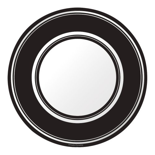 Creative Converting Coordinates Collection 8 Count Round Paper Dinner Plates, Black Velvet Stripe (Black Stripe Dinner Plates)