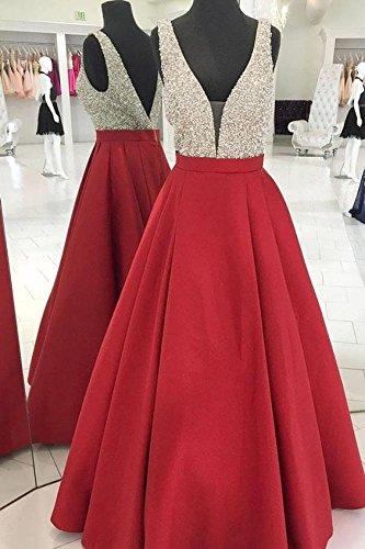 Drehouse Perles Cristal V-cou Robes De Bal Backless Robes De Soirée 2018 Bourgogne Femmes