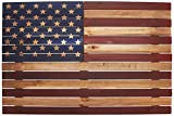 Reflective Art 24'' x 16'' 'US Flag Slat Wood Wall