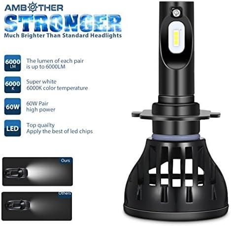 AMBOTHER 60W LED COB Luces Delanteras del Coche Kit 6000LM 6000K ...