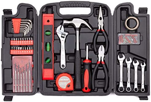 Cartman 136Piece Tool Set General Household Hand Tool Kit with Plastic Toolbox Storage Case