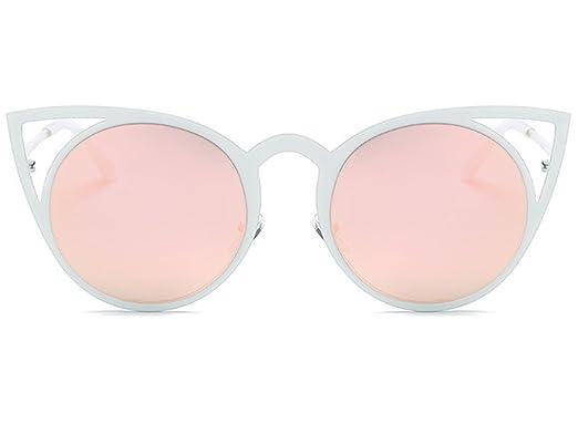 35b820c68d0a Women Cat Eye Sunglasses Round Metal Cut-Out Flash Mirror Lens Sun glasses  400 UV Free Case Classic Designer  Amazon.co.uk  Clothing