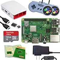 Viaboot Raspberry Pi 3 B+ Gaming Kit — Official 32GB MicroSD Card, Official Raspberry Pi Foundation Red/White Case, SNES Edition