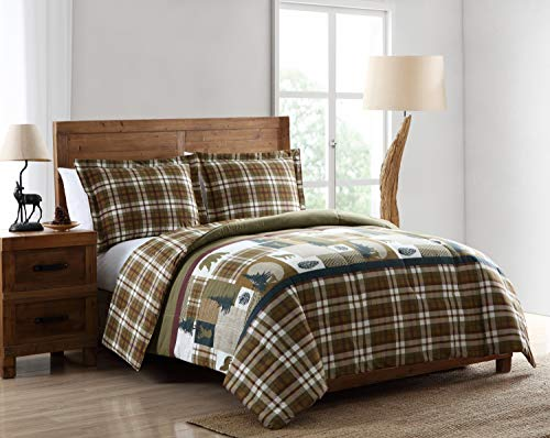 Pine Creek Lodge Reversible Comforter Set Including Shams - Premium Luxury Bed Spread, Rustic Southwestern Style Perfect for Hunters, Cabins and Lodges (Twilight Patch, Full/Queen) ()