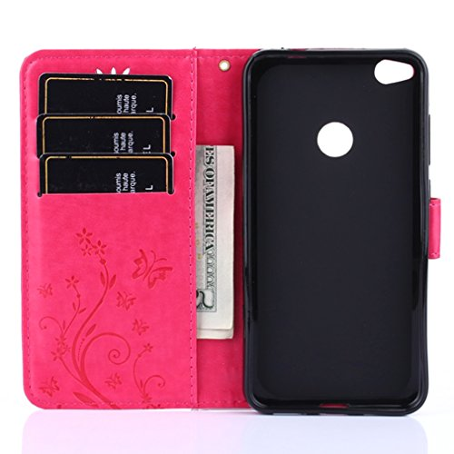 Yiizy Huawei P8 Lite (2017) / Honor 8 Lite Funda, Hierba FlorDesign Premium PU Leather Slim Flip Wallet Cover Bumper Protective Shell Pouch with Media Kickstand Card Slots (Rose Red)