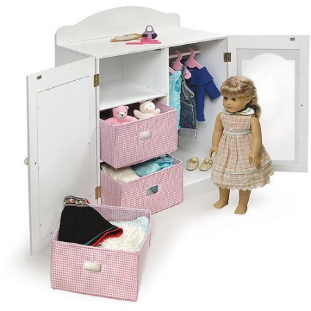Badger Basket Mirrored Doll Armoire with Hangers and Baskets, Fits Most 18