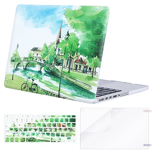 MOSISO Plastic Pattern Hard Case Only Compatible MacBook Pro (W/O USB-C) Retina 13 Inch (A1502/A1425)(W/O CD-ROM) Release 2015/2014/2013/end 2012 & Keyboard Cover & Screen Protector,Bridge River Trees