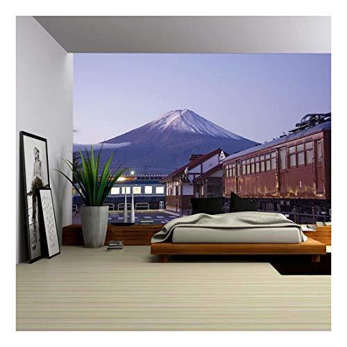 (wall26 - Mt Fuji at Dawn and The Train Station. Train Station and Mt Fuji in The Background at Dawn. - Removable Wall Mural   Self-Adhesive Large Wallpaper - 100x144 inches)