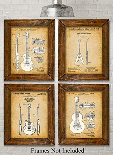 Original Gibson Guitars Patent Art Prints - Set of Four Photos (11x14) Unframed - Makes a Great Gift Under $25 for Guitar Players