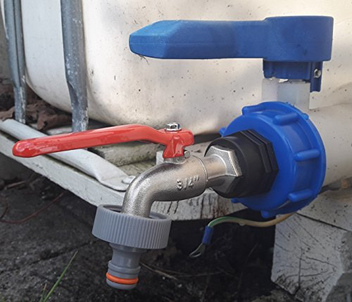 cmtech GmbH Montaje Tecnologí a cms60133mk99 Cañ o –  Vá lvula de Bola con Conector Apto para Gardena, IBC de contenedor de Accesorios de Agua de Lluvia Tanque de Doble Adaptador de Bidó n