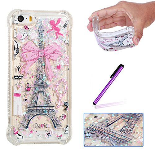 (ISADENSER Case for iPhone 5S Design air Thicked Corner Strengthen & 3D Hearts Quicksand Shiny Flowing Liquid Shockproof Transparent Clear Soft Protective Case for iPhone 5/5S/SE Paris Tower)