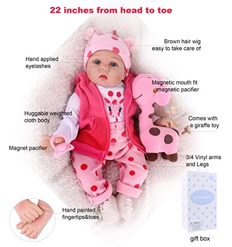 Vinyl Reborn Baby Toddler Girl Doll 22 Inches Vintage Toy Full Limbs Realistic Lifelike Handmade Toys Detail Clothes Bottle Gift For Kids