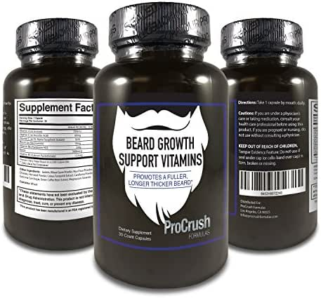 Beard Growth Support Multivitamins- Grow Longer, Fuller, Thicker, Healthier Beard Hair. Natural Supplement Vitamin with Biotin for Men
