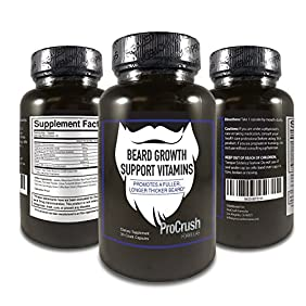Beard Growth Support Vitamins- Grow a longer, fuller, thicker beard. Natural supplement with Biotin. (30 Count, 1 month supply) by ProCrush Formulas