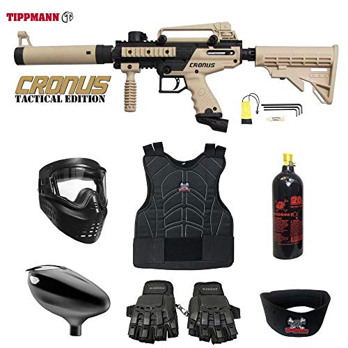 MAddog Tippmann Cronus Tactical Beginner Protective CO2 Paintball Gun Package - Black/Tan