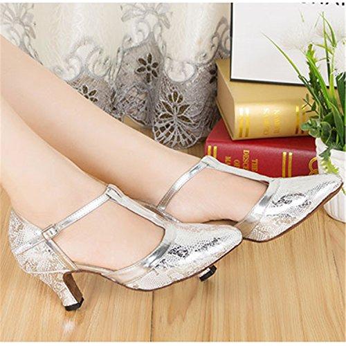 Danse 39 LEIT Silver YFF Danse Dance Tango Cadeaux 6cm Latine Dance Femmes Chaussures wa6Oq