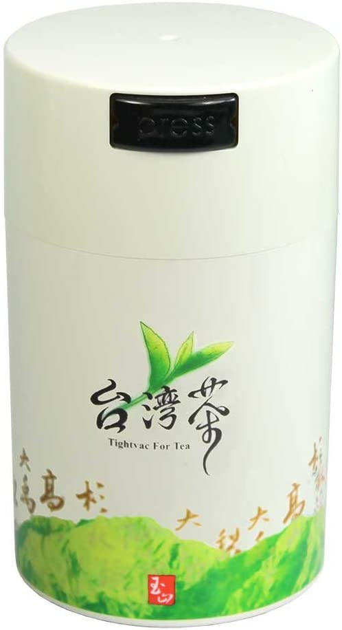 Teavac 6-Ounce Vacuum Sealed Tea Storage Container, White Cap and Body/Green Tea Sign