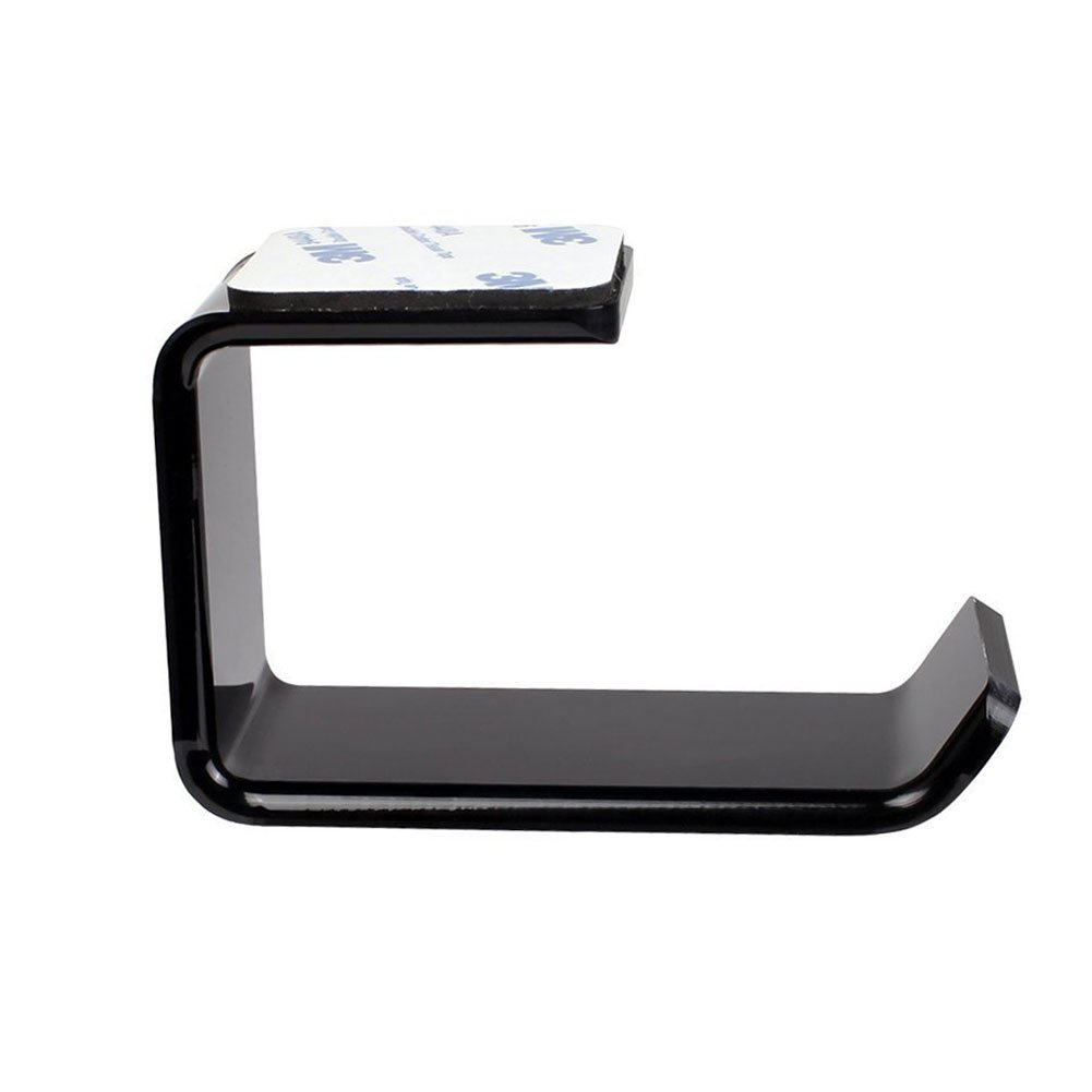 JoinPro Headset Stand Under Desk Acrylic Headphone Hanger Holder with Stick-On Adhesive, Black