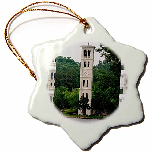 3dRose orn_61719_1 Bell Tower at Furman University Greenville Snowflake Decorative Hanging Ornament, Porcelain, 3-Inch Porcelain Wedding Bell