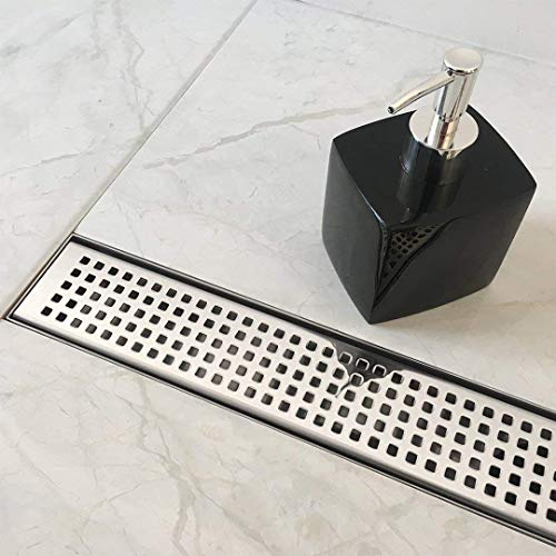 28 Inch Chrome Base - Neodrain 24-Inch Linear Shower Drain with Removable Quadrato Pattern Grate,Professional Polished 304 Stainless Steel Rectangle Shower Floor Drain Manufacturer,With Leveling Feet,Hair Strainer