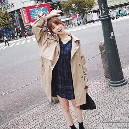 Modernas Windbreaker Doble Gabardina De Chaquetas Primavera Largos Elegantes Anchos Manga Mujer Larga Botonadura Casuales Solapa Otoño Fashion Abrigos Khaki Khaki Huixin Tqv4q