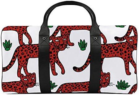 ボストンバッグ ダッフルバッグ 豹 赤い 豹柄 スポーツバッグ 旅行バッグ 旅行カバン メンズ レディース ジムバッグ キャリーオンバッグ 大容量 トラベルバッグ 収納バッグ ショルダバッグ カート固定ロープ付き