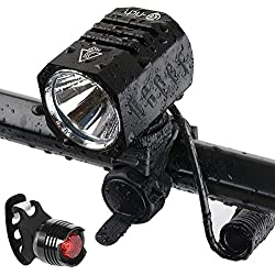Super Bright Bike Light USB Rechargeable, Te-Rich 1200 Lumens Waterproof Road / Mountain Bicycle Headlight and LED Taillight Set with 4400 mAh Battery