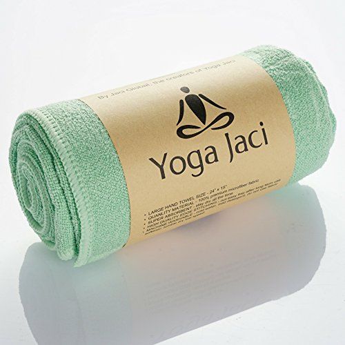 Yoga Hand Towel - Premium Microfiber and Eco-Friendly Materials Edge Stitching - Durable and Long Lasting (Green, 1 Hand Towel 24x15)