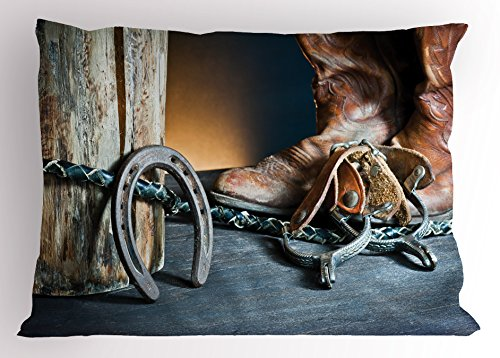 Lunarable Western Pillow Sham, Dated Metal Horseshoe Whip Spurs Rustic Texas Lifestyle USA Culture Design Print, Decorative Standard Size Printed Pillowcase, 26 X 20 Inches, Grey Brown Rustic Spur