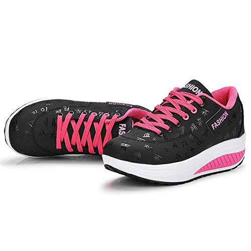 QZBAOSHU Women Slimming Walking Shoes & Sneakers Fitness Wedges Platform Shoes 1-black 0e7CfLm8n