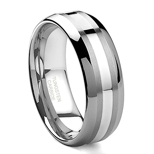 Hollywood Pro 8MM Tungsten Carbide 14K White Gold Inlay Wedding Band Ring Sz 13.5