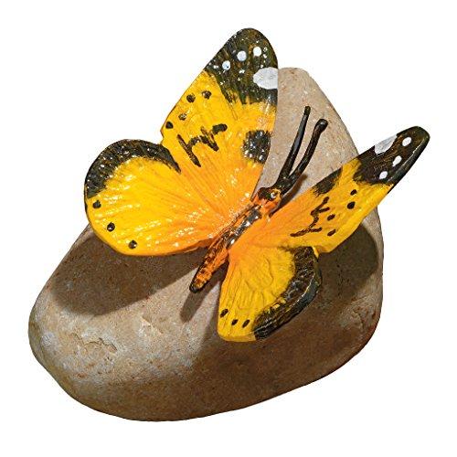 Design Toscano Yellow Mocker Swallowtail Butterfly on Rock Statue (Rock Butterfly)