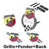 4pcs Sets AM90 ABARTH Front Grille White + Fender Side Sticker + Back Sticker Car Emblem Badge For FIAT 124 125 125 500 695 OT2000 Coupe