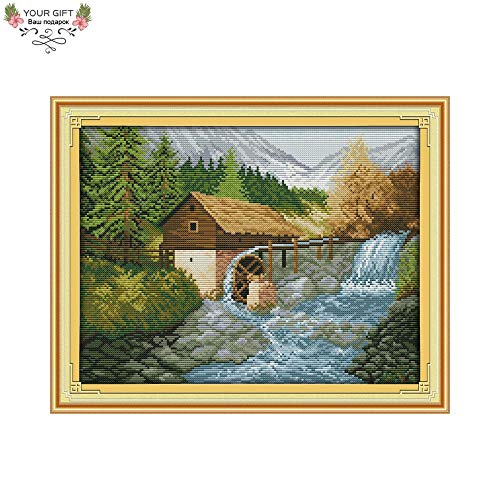 - Zamtac Your Gift F537(2) 14CT 11CT Counted and Stamped Home Decor Bridge River Needlepoint Needlework Embroidery Cross Stitch Kits - (Cross Stitch Fabric CT Number: 14CT Stamped Product)