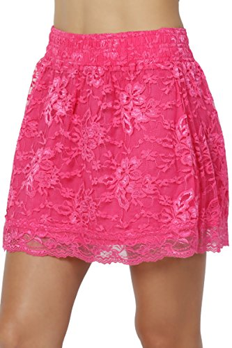 TheMogan Junior's Floral Lace Elastic Waist Flared A-Line Mini Skirt Pink ()