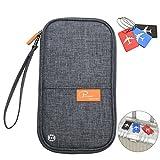 RFID Blocking Travel Passport Wallet Family Passport Holder Credit Card Ticket Document Organizer Bag with 3pcs luggage Tags (Grey)